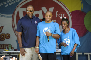 Hall of Famer Chris Doleman, Hot 107.9's Reec, and Olympian Gail Devers (DFK 2014)