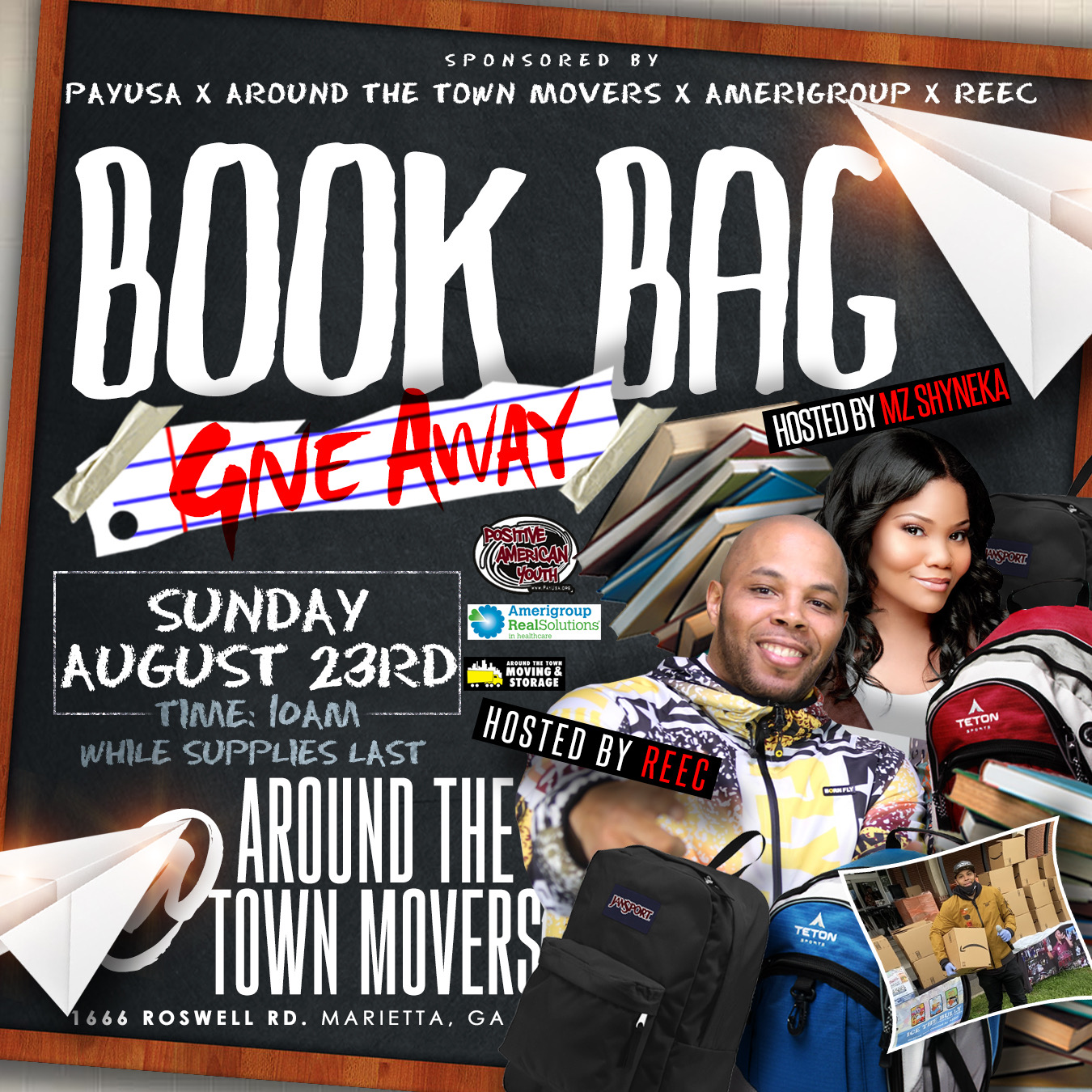 Free Book Bags & Snacks 8/23/20